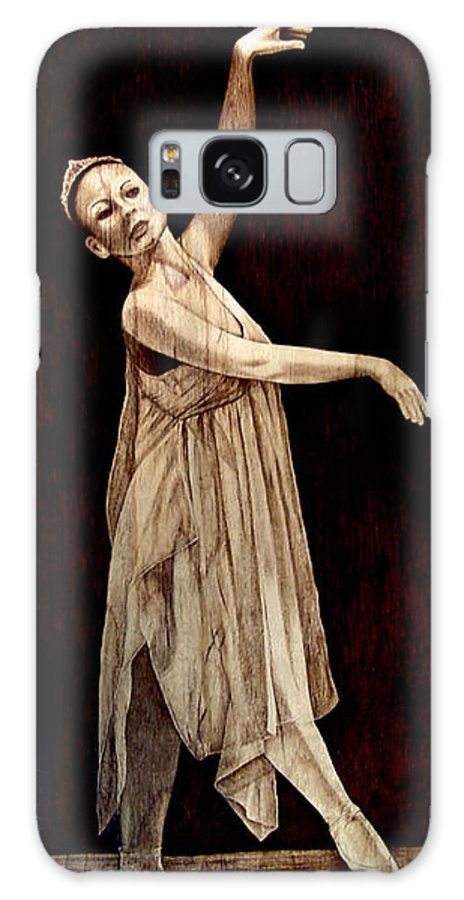 Pyrography; Woodburning; Ballerina; Light; Portrait; Shoe; Stage; Dress; Crown; Tiara; Dance; Galaxy S8 Case featuring the pyrography Grace Touching Light by Jo Schwartz
