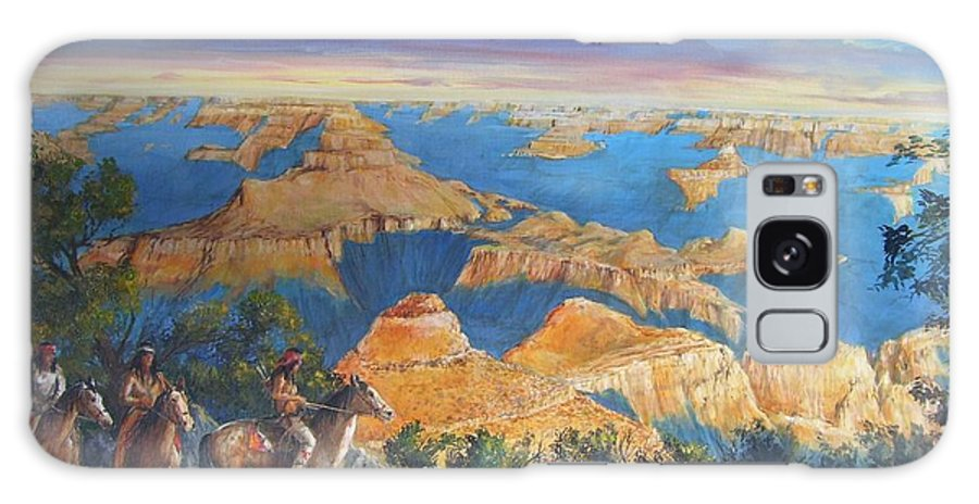 Grand Canyon Galaxy Case featuring the painting Grand Canyon Visitors At Sunrise by Perrys Fine Art