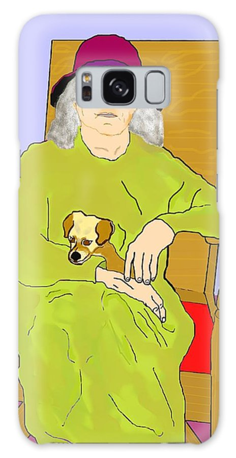 Grandmother Galaxy Case featuring the painting Grandma And Puppy by Pharris Art