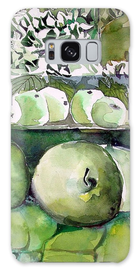 Apple Galaxy Case featuring the painting Granny Smith Apples by Mindy Newman