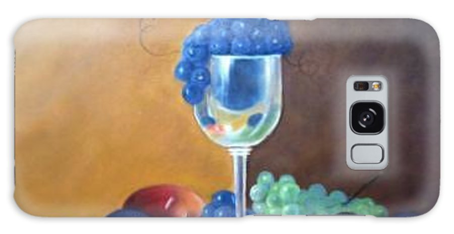 Wine Galsses With Grapes Galaxy Case featuring the painting Grapes And Plums by Susan Dehlinger