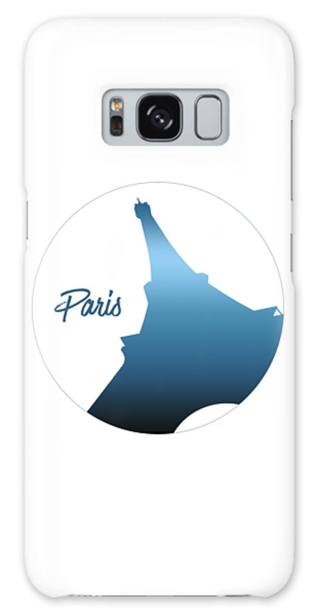 Abstract Galaxy S8 Case featuring the photograph Graphic Style Paris Eiffel Tower Blue by Melanie Viola