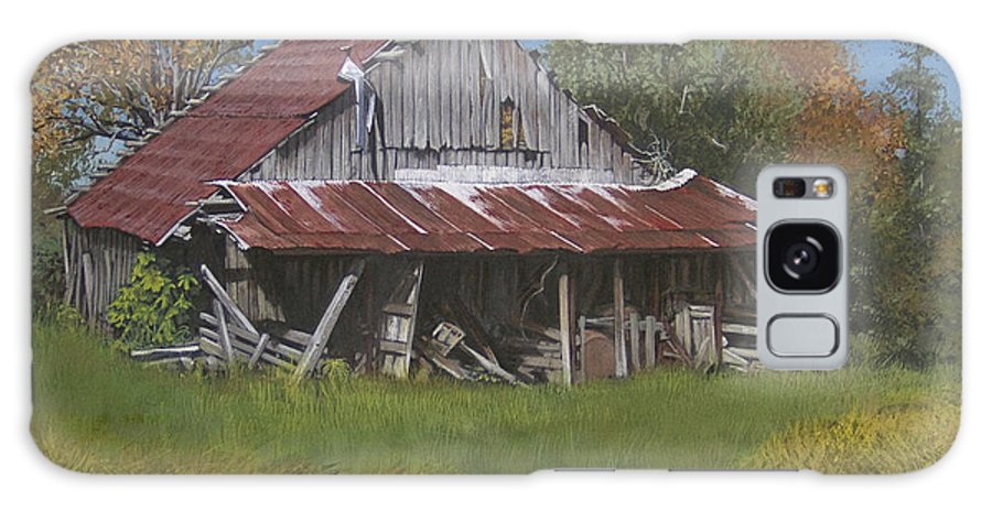 Landscape Galaxy Case featuring the painting Gray Farm Building by Peter Muzyka