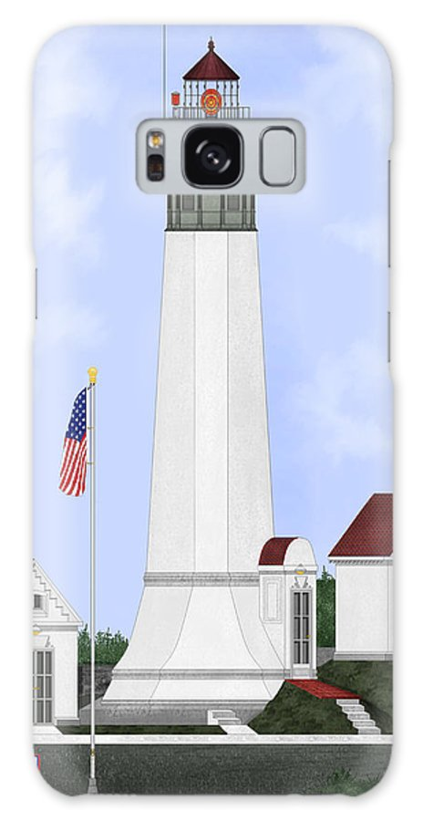 Lighthouse Galaxy S8 Case featuring the painting Grays Harbor Light Station Historic View by Anne Norskog