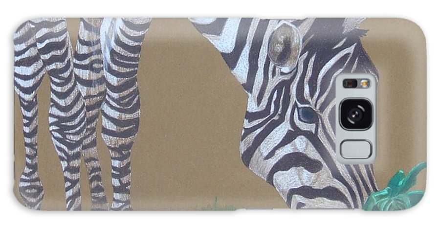Zebra Galaxy S8 Case featuring the painting Grazing At The Salad Bar by Anita Putman