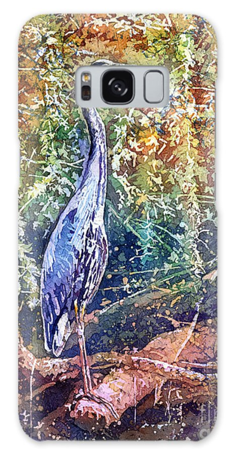Heron Galaxy S8 Case featuring the painting Great Blue Heron by Hailey E Herrera
