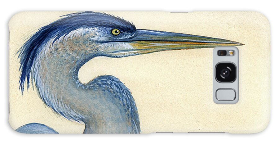 Great Galaxy S8 Case featuring the painting Great Blue Heron Portrait by Charles Harden