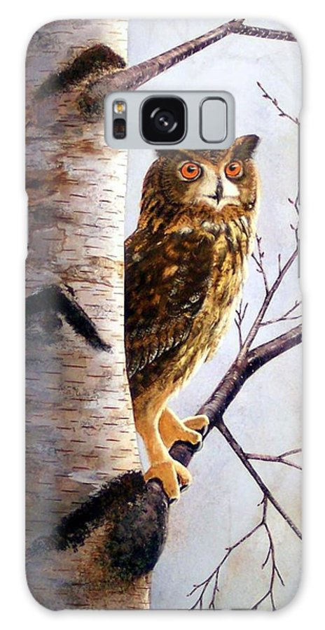 Great Horned Owl In Birch Galaxy S8 Case featuring the painting Great Horned Owl In Birch by Frank Wilson