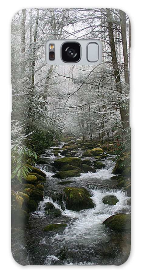 Green Snow Tree Trees Winter Stream River Creek Water Stone Rock Flow Boulder Forest Woods Cold Galaxy S8 Case featuring the photograph Green And White by Andrei Shliakhau