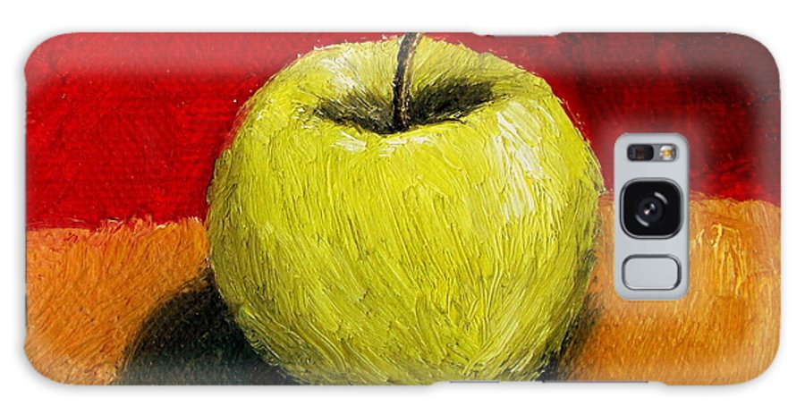 Apple Galaxy Case featuring the painting Green Apple With Red And Gold by Michelle Calkins