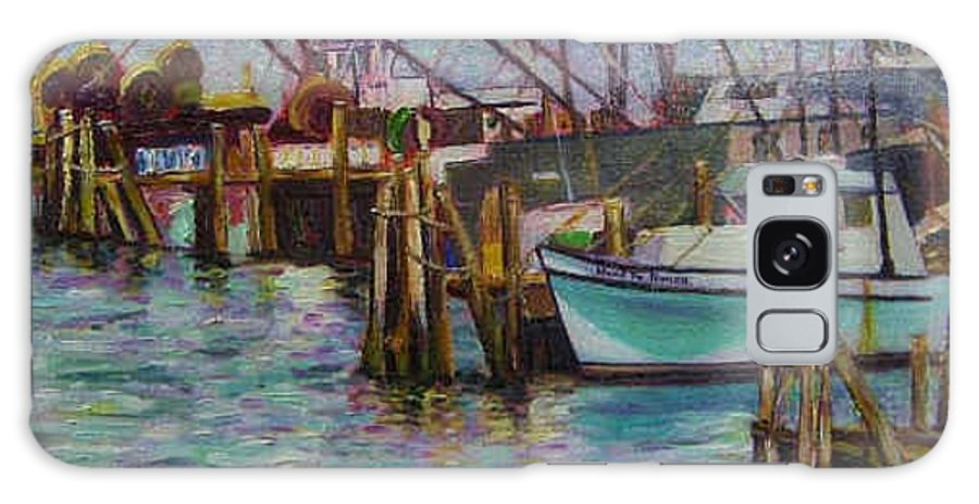 Boat Galaxy S8 Case featuring the painting Green Boat At Rest- Nova Scotia by Richard Nowak