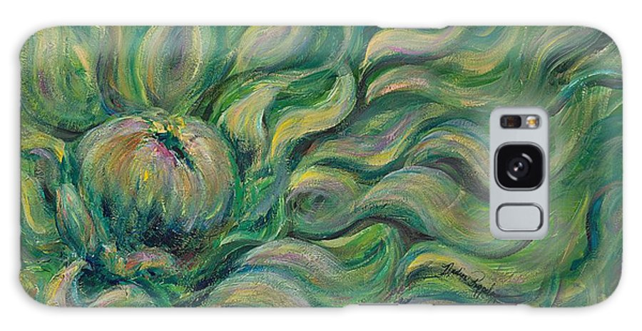 Green Galaxy S8 Case featuring the painting Green Flowing Flower by Nadine Rippelmeyer