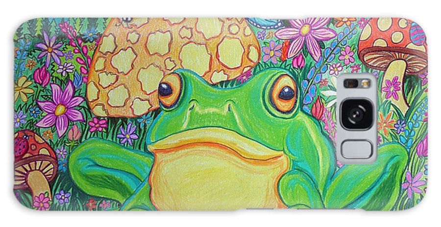 Green Frog Art Galaxy S8 Case featuring the drawing Green Frog With Flowers And Mushrooms by Nick Gustafson