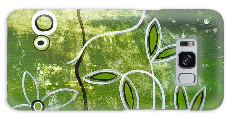 Abstract Galaxy S8 Case featuring the painting Green Growth by Ruth Palmer