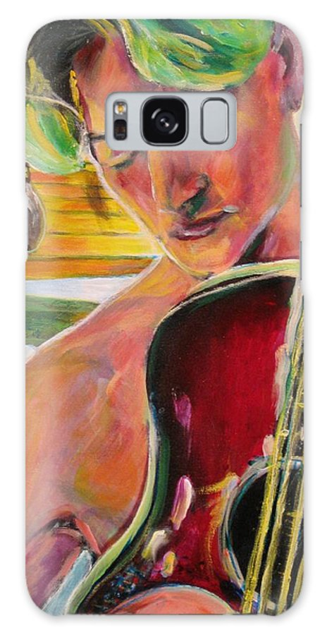 Boy Galaxy Case featuring the painting Green Hair Red Bass by Dennis Tawes