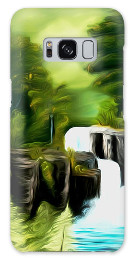 Green Mist Galaxy S8 Case featuring the painting Green Mist Fantasy Falls Dreamy Mirage by Claude Beaulac