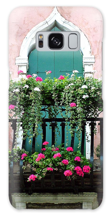 Green Galaxy Case featuring the photograph Green Ornate Door With Geraniums by Donna Corless
