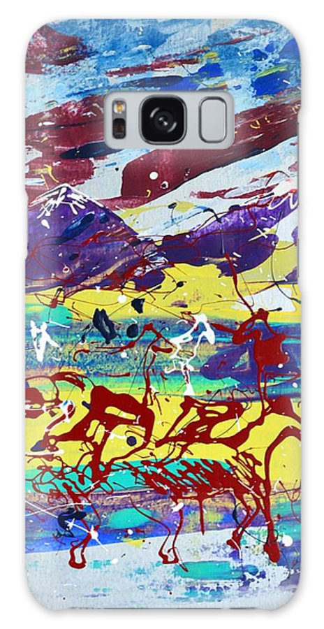 Horses Grazing Galaxy Case featuring the painting Green Pastures And Purple Mountains by J R Seymour