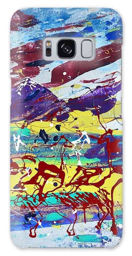 Horses Grazing Galaxy S8 Case featuring the painting Green Pastures And Purple Mountains by J R Seymour