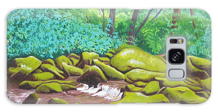 River. North Carolina Galaxy Case featuring the painting Green Rocks by D T LaVercombe