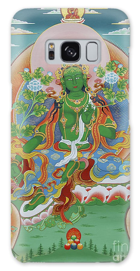 Thangka Galaxy S8 Case featuring the painting Green Tara With Retinue by Sergey Noskov