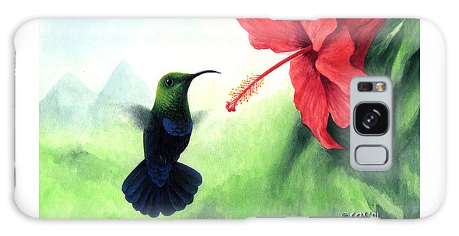Chris Cox Galaxy Case featuring the painting Green-throated Carib Hummingbird And Red Hibiscus by Christopher Cox