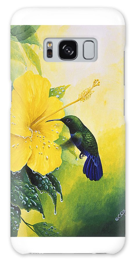 Chris Cox Galaxy S8 Case featuring the painting Green-throated Carib Hummingbird And Yellow Hibiscus by Christopher Cox