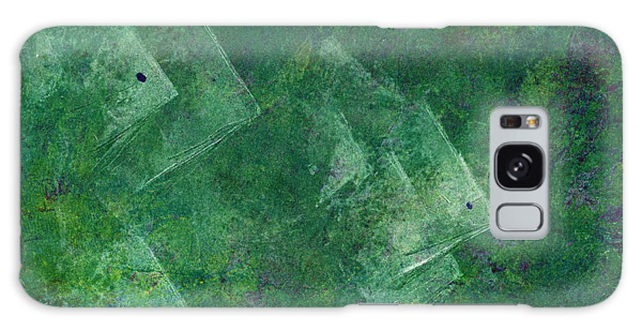 A School Of Fish In Green Water- Monotype Print Galaxy S8 Case featuring the painting Green Water by Mui-Joo Wee
