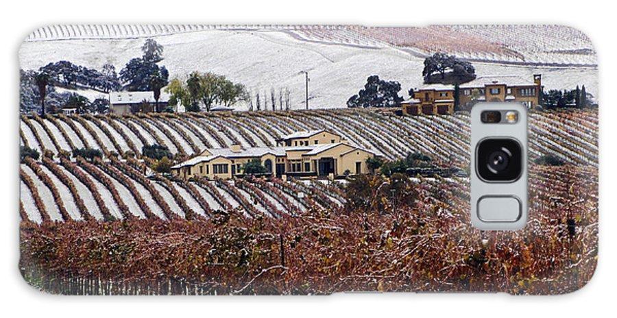 Vineyard Galaxy S8 Case featuring the photograph Greenville Vineyard In Snow by Karen W Meyer