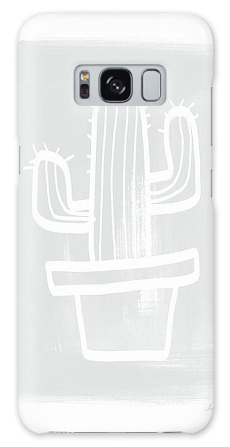 Cactus Galaxy S8 Case featuring the painting Grey And White Cactus- Art By Linda Woods by Linda Woods