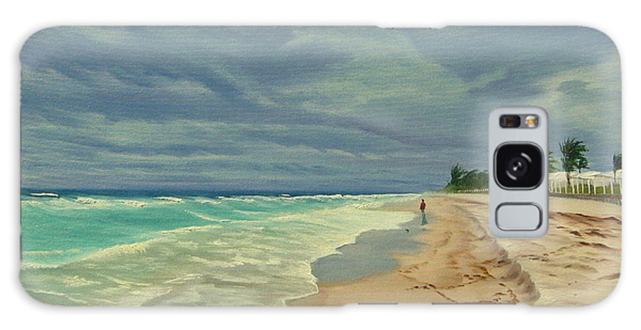 Beach Galaxy S8 Case featuring the painting Grey Day on the Beach by Lea Novak