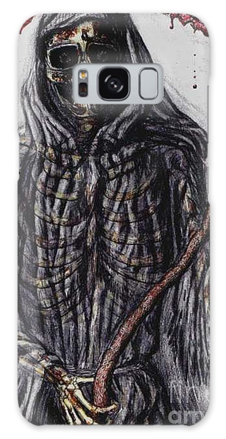 Grim Reaper Galaxy S8 Case featuring the drawing Grim Reaper Colored by Katie Alfonsi