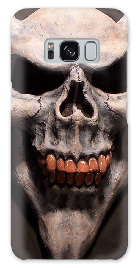 Mask Galaxy S8 Case featuring the sculpture Grin by Steve Spagnola
