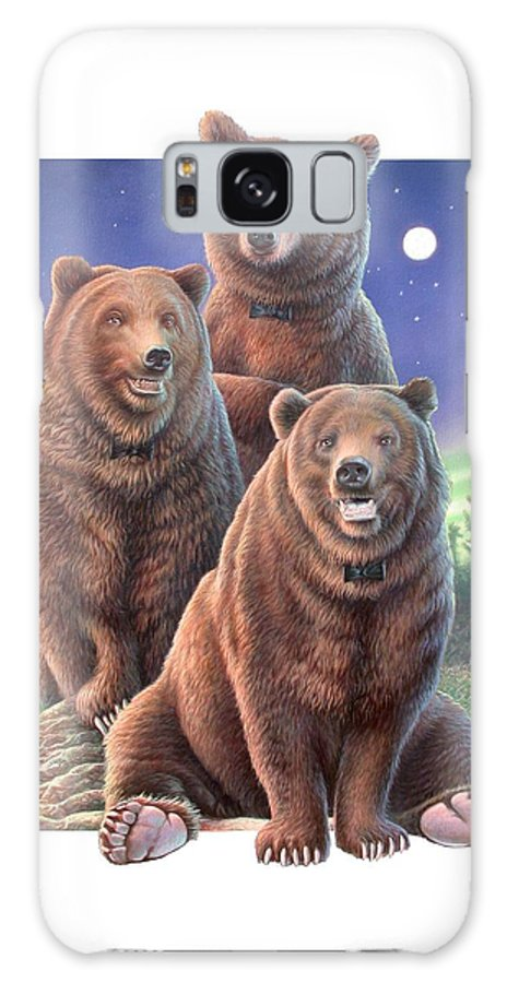 Grizzly Galaxy S8 Case featuring the painting Grizzly Bears In Starry Night by Hans Droog