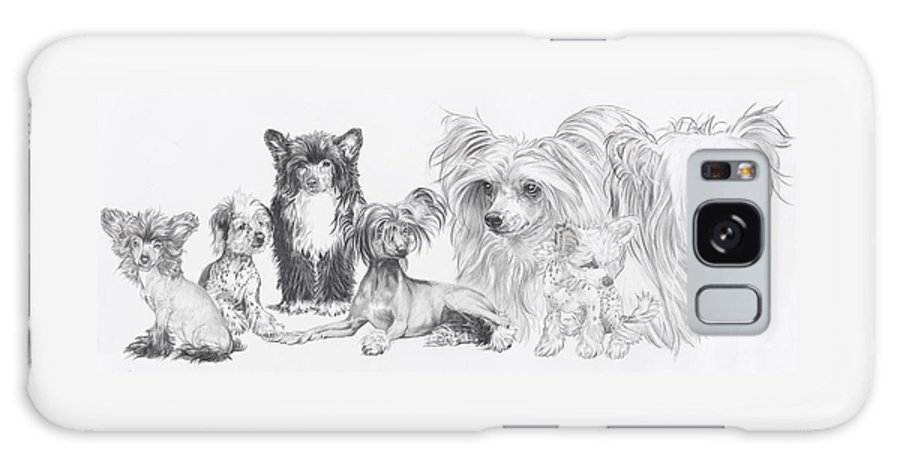 Toy Group Galaxy Case featuring the drawing Growing Up Chinese Crested And Powderpuff by Barbara Keith