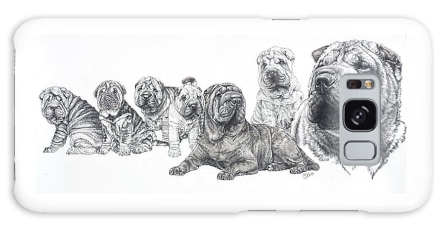 Non-sporting Group Galaxy S8 Case featuring the drawing Growing Up Chinese Shar-pei by Barbara Keith