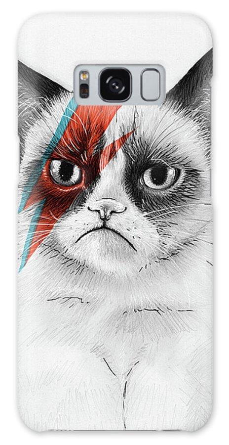 Grumpy Cat Galaxy Case featuring the drawing Grumpy Cat As David Bowie by Olga Shvartsur
