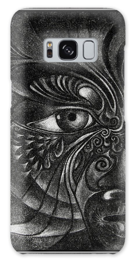 Mezzotint Galaxy Case featuring the drawing Guardian Cherub by Otto Rapp