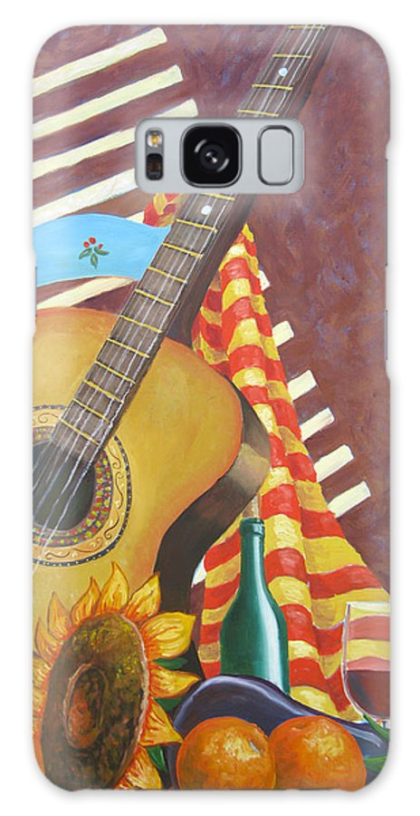 Still Life Galaxy Case featuring the painting Guitar And Oranges by D T LaVercombe
