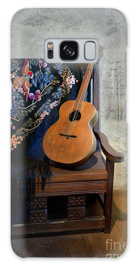 Photography Galaxy S8 Case featuring the photograph Guitar On A Bench by Scott Parker