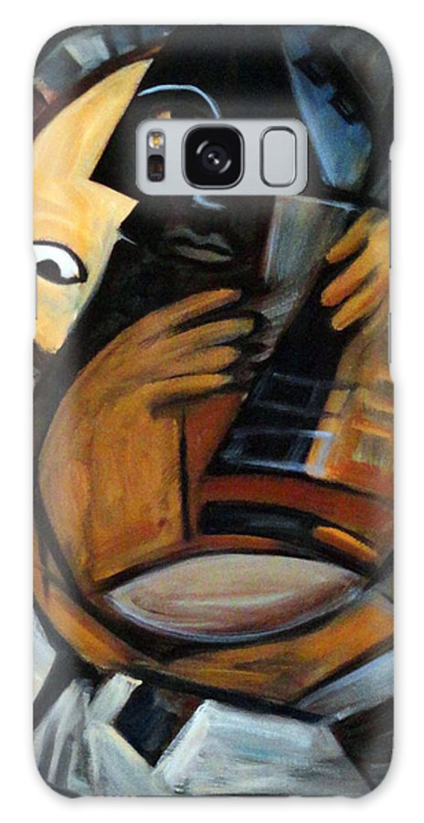 Cubism Galaxy Case featuring the painting Guitarist by Valerie Vescovi