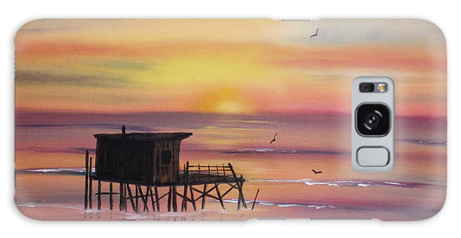 Sunset Galaxy Case featuring the painting Gulf Coast Fishing Shack by Susan Kubes