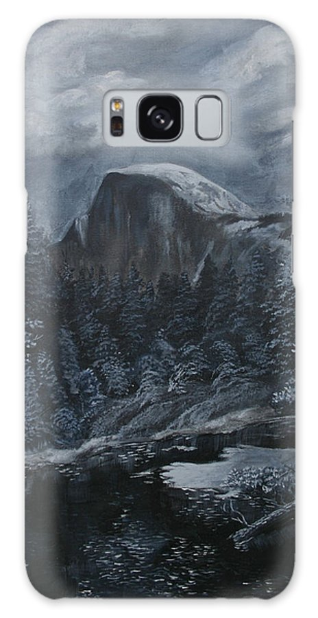 Yosemite Galaxy S8 Case featuring the painting Half Dome Black And White by Travis Day