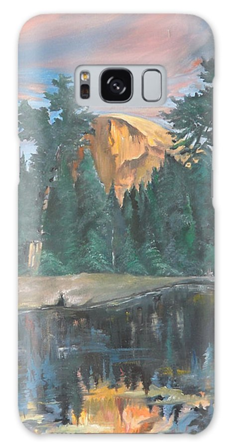 Sunset Galaxy Case featuring the painting Half Dome Sunset by Travis Day