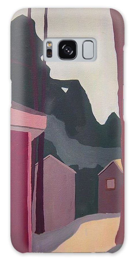 Landscape Galaxy S8 Case featuring the painting Half Moon Lake Cottages by Debra Bretton Robinson