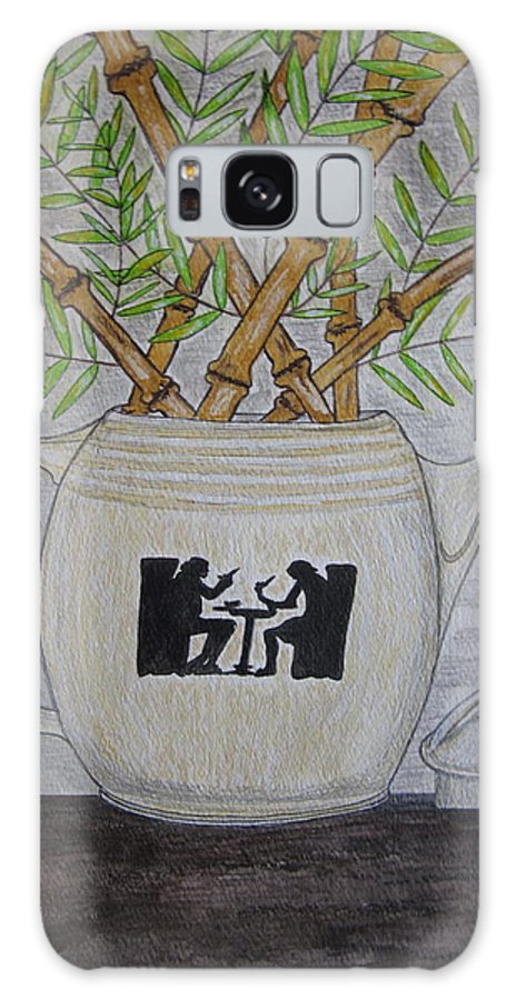 Hall China Galaxy Case featuring the painting Hall China Silhouette Pitcher With Bamboo by Kathy Marrs Chandler