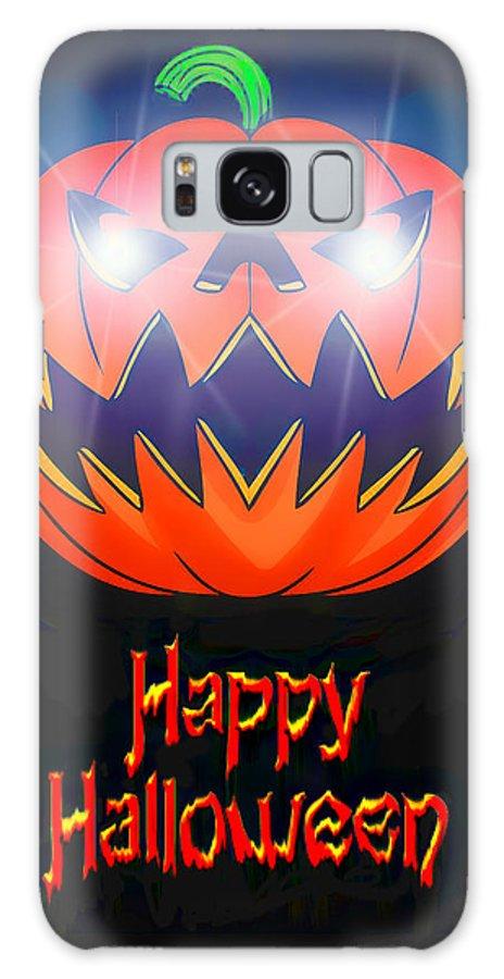 Jack-o-lantern Galaxy S8 Case featuring the digital art Halloween Greeting Card by Kenneth Krolikowski