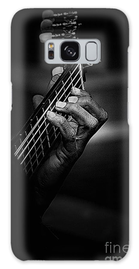 Guitar Galaxy S8 Case featuring the photograph Hand of a guitarist in monochrome by Sheila Smart Fine Art Photography