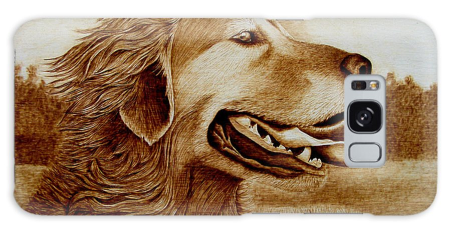 Dog; Setter; Irish Setter; Wind; Happy; Sepia; Woodburning; Pyrography; Hunt; Field;sunshine;tongue Galaxy S8 Case featuring the pyrography Happiness by Jo Schwartz