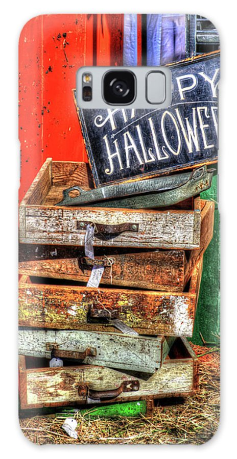 Happy Halloween Sign Junk Drawers Antique Rustic Galaxy S8 Case featuring the photograph Happy Halloween by J Laughlin